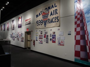 The display on the National Air Races and the Great Lakes Exposition is nostalgic and harkens back to the early days of transportation-related entertainment.