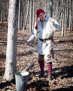 Veteran Maple Sugar Festival historian, Jeff Jones, will take you and your family to the sugar bush near the Sugar House and show you how early settlers and Indians tapped the maple trees for sap. PHOTO: Nancy Balluck Photography